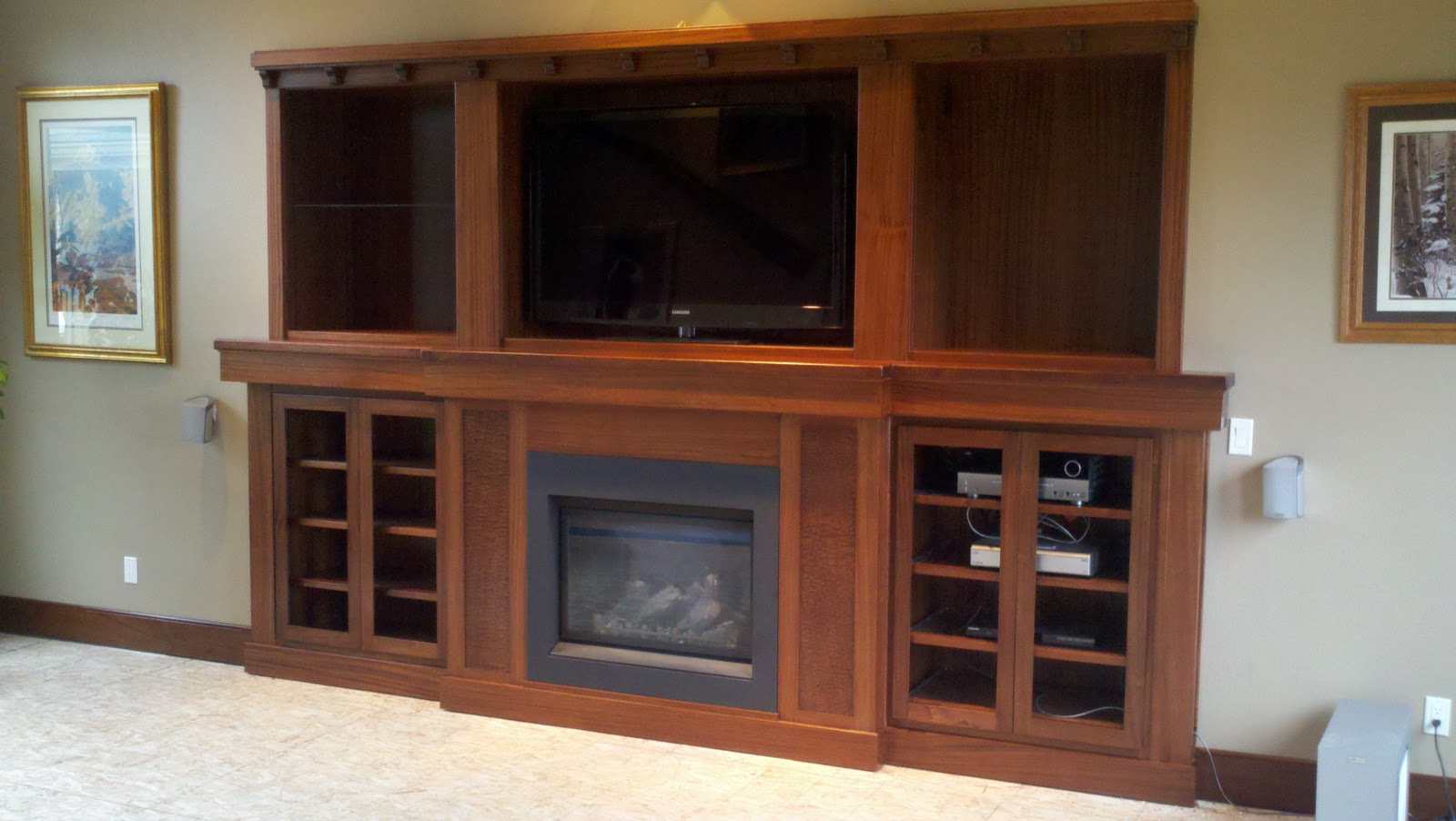 Stix 39 S Woodworks Sapele Fireplace Entertainment Center