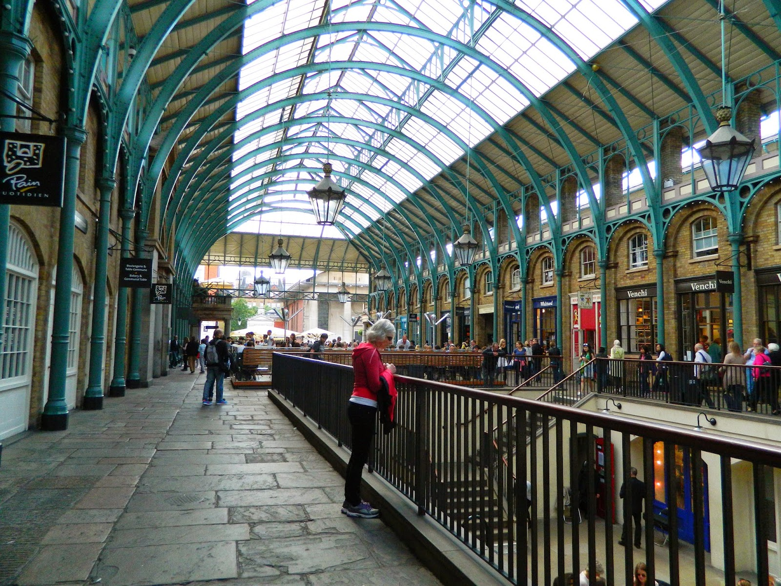 covent garden  architecture ceiling people green lights  floor