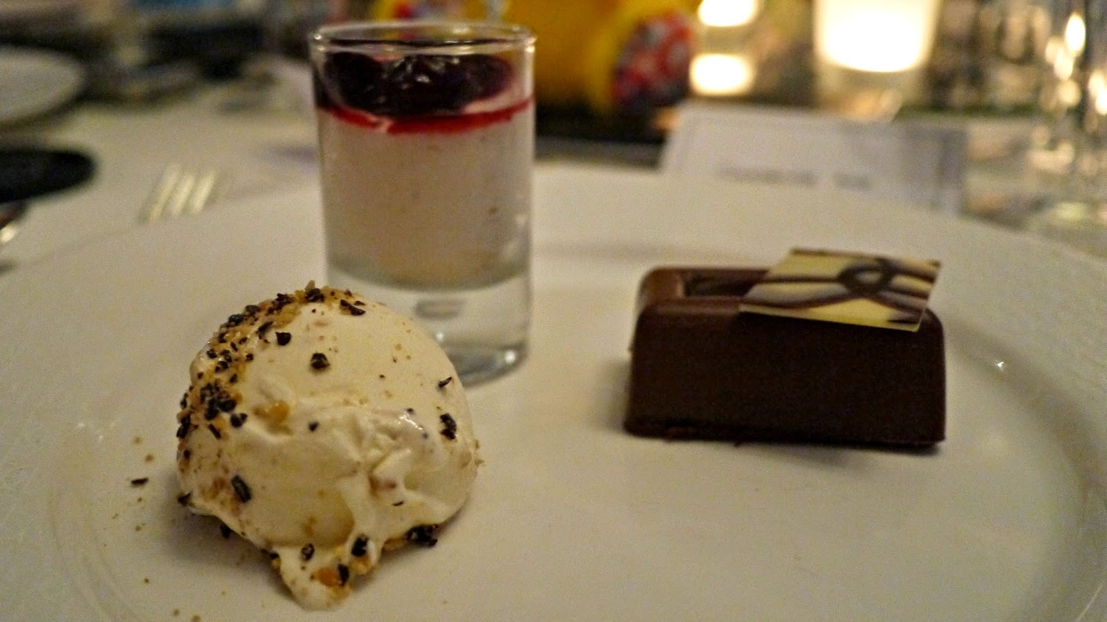 Children in Need An Evening with the Stars gala dinner dessert