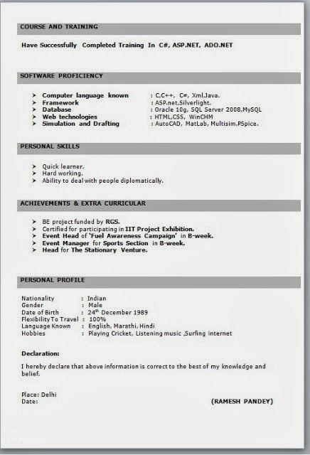 it fresher resume sample - Resume Sample For Freshers