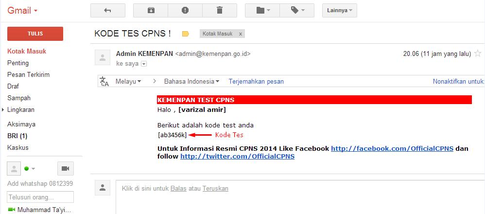 Email notifikasi Kode Tes