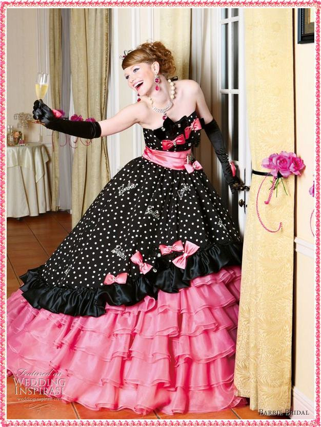 Barbie wedding dress designs pictures wedding dress for Black and pink wedding dress