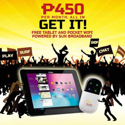 Sun Broadband Promo - Free Dual-Core Tablet and Pocket Wifi with Internet for Plan 450