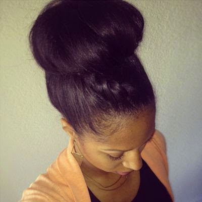 natural hair sock bun hairstyle