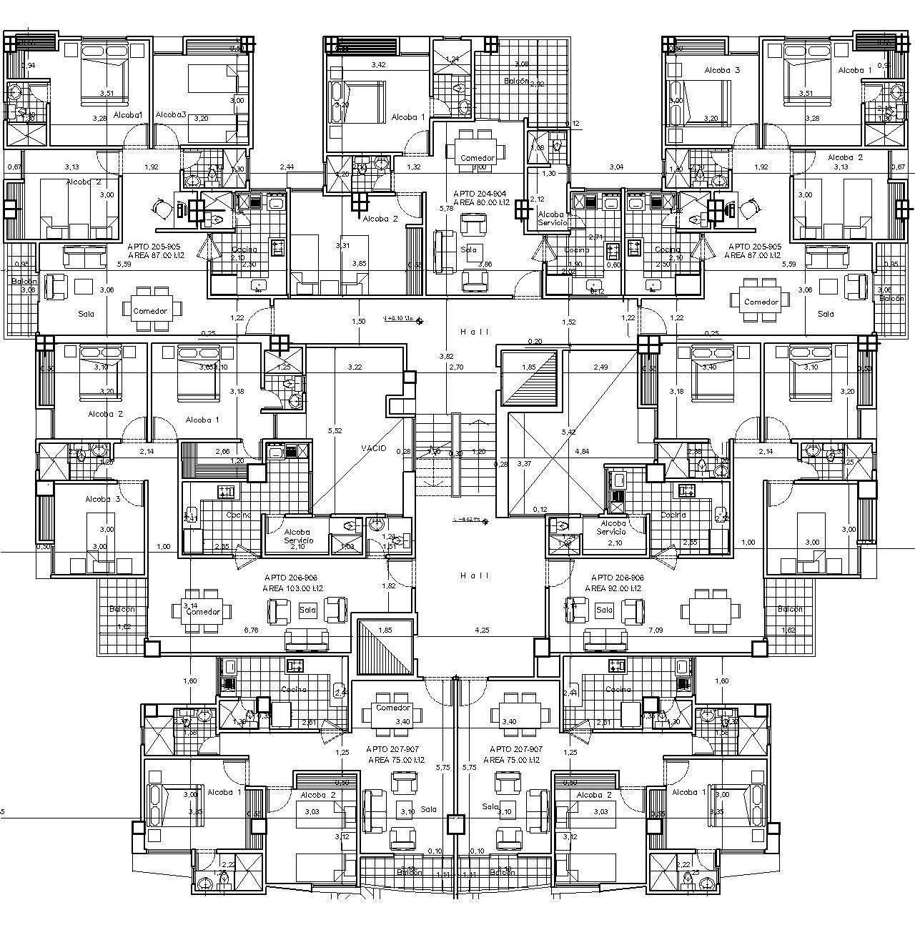 Edificio palmeiras planos generales for Edificio de departamentos planos