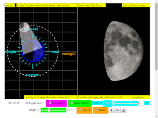 when day =9, it is waxing gibbous moon click to run: EJSS Moon Phases Model offline: DOWNLOAD, UNZIP and CLICK *.html to run source: EJSS SOURCE CODES original author: Todd Timberlake, lookang author of EJSS version: lookang