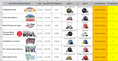 2015 college football bowl pool manager and schedule excel