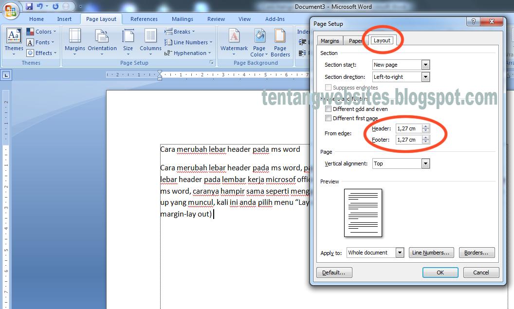 Cara merubah lebar header pada ms word