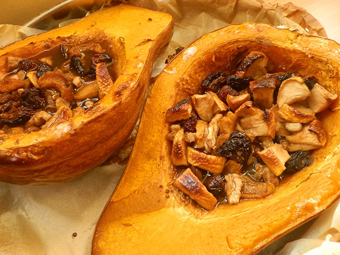 Homemade Spicy Baked Pumpkin with dry fruits, nuts and rum recipe
