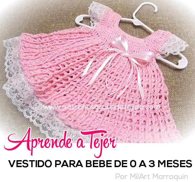 Tutorial de vestido crochet para bebe de 0 a 3 meses paso a paso