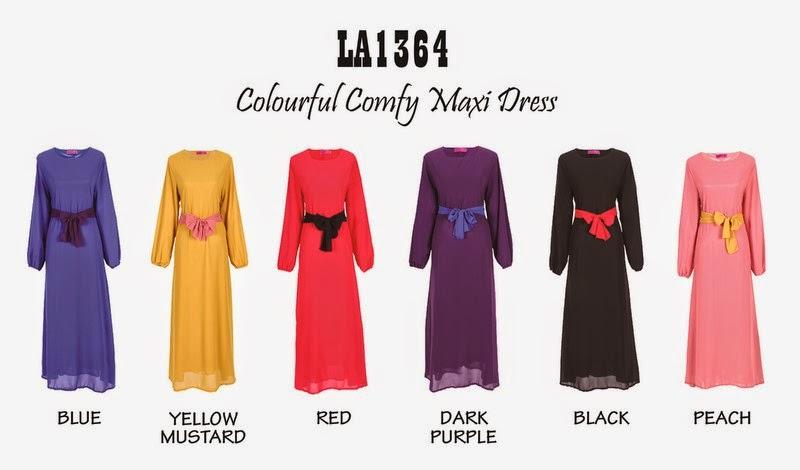 Colourful COnfy Maxi Dress - Warna available BIRU, PURPLE, HITAM, PEACH