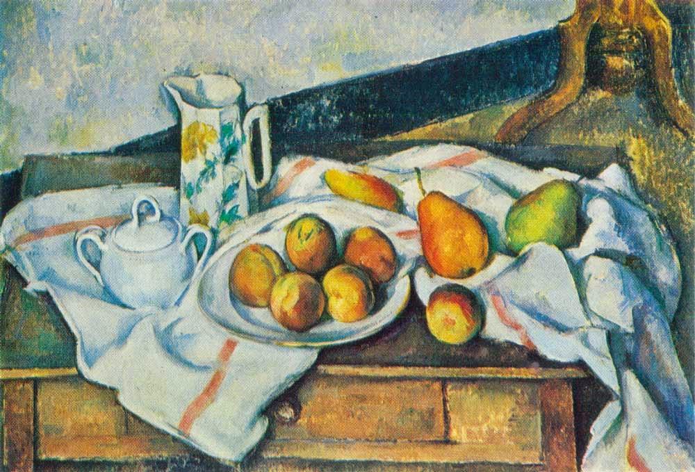 Paul Cézanne - nature morte (pêches et poires ),188-1890.