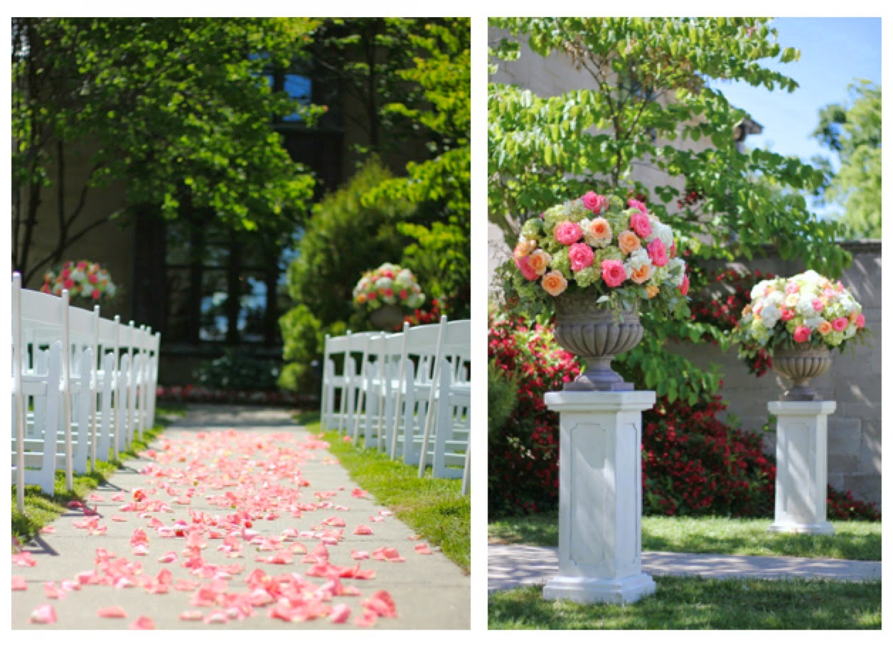 Sweet Pea Floral Design Detroit Ann Arbor Earhart Manor Wedding ceremony decor extra large garden urns and pedestals coral, peach and white large arrangements for wedding decor