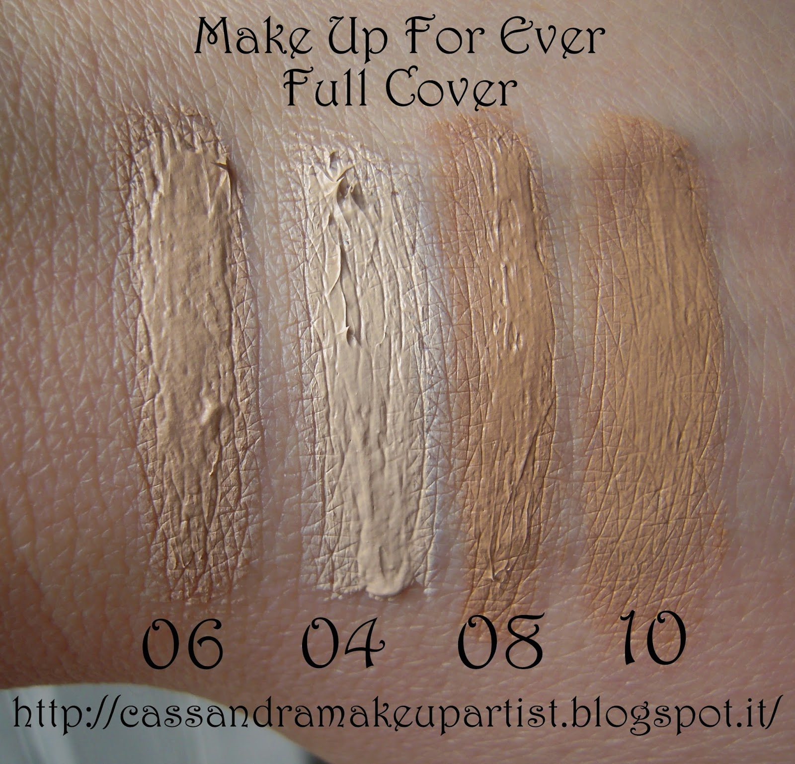 FULL COVER CONCEALER - MUFE - make up for ever - swatch - recensione - review - 04 - 06 - 08 - 10