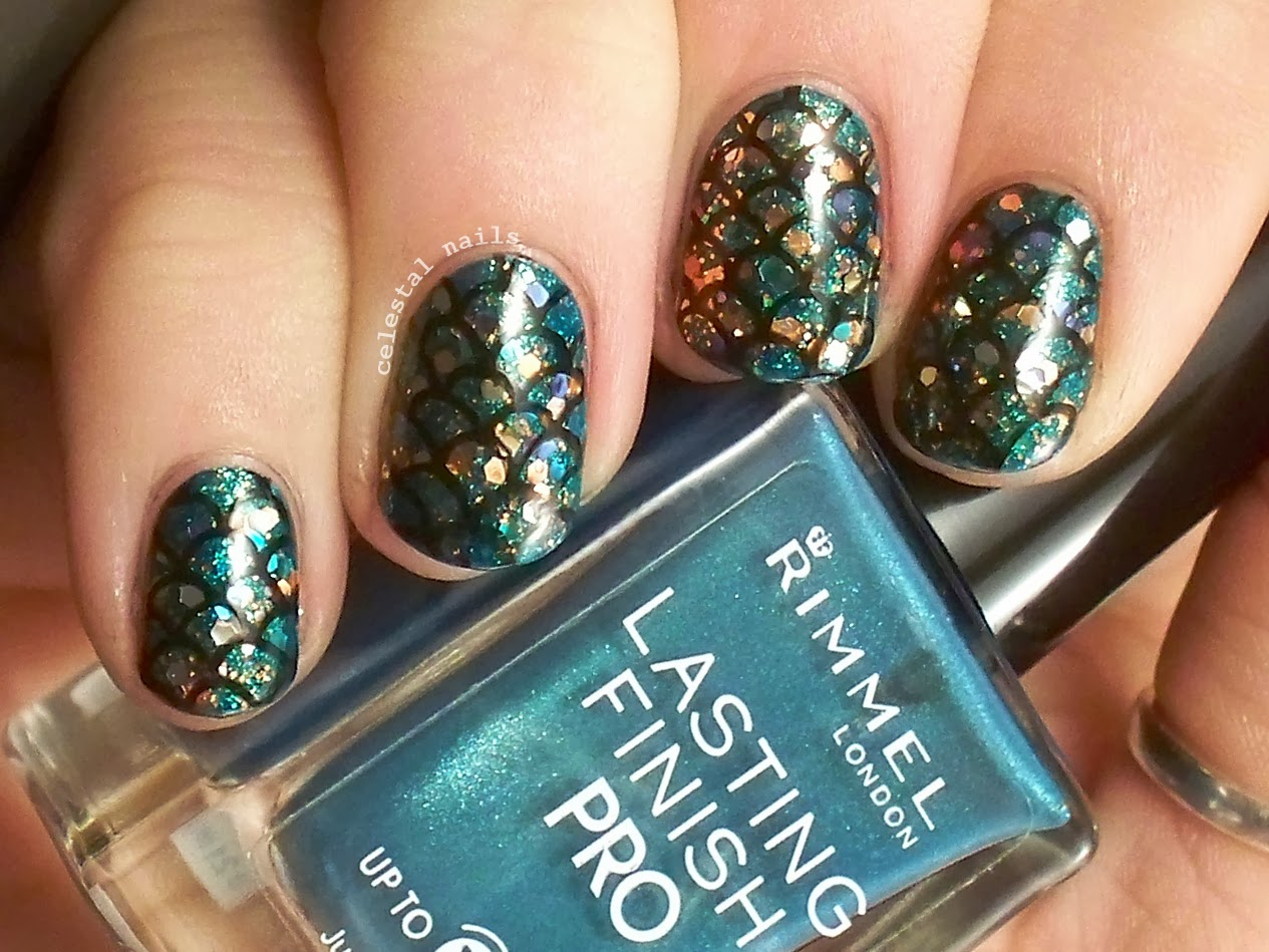 Fish scales nail art celestal nails im gonna go hope and pray and wish my nails longer but to you i sayw go forth and do nail art prinsesfo Choice Image