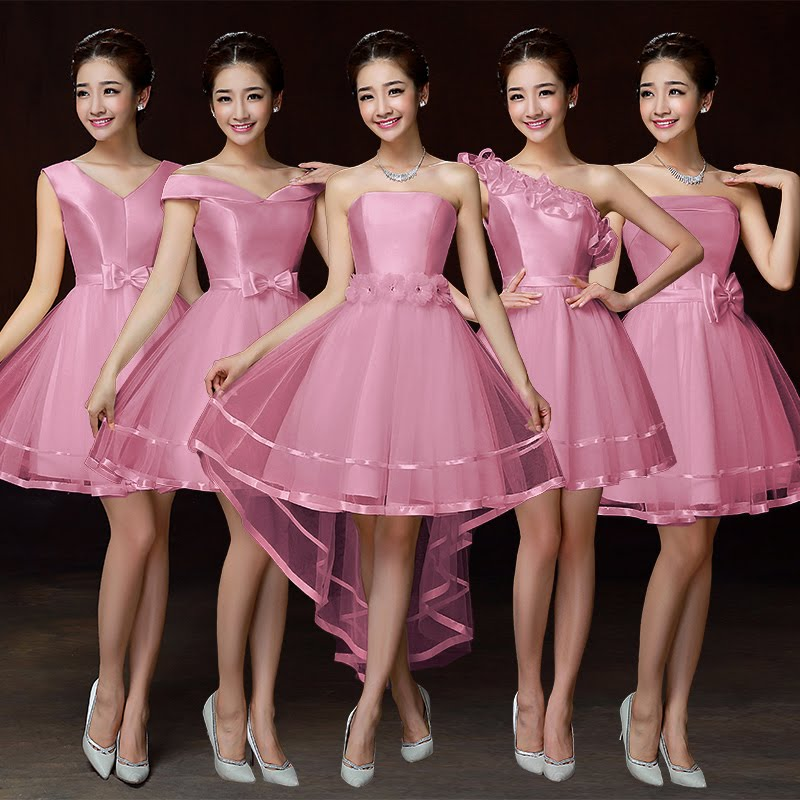 5-Design Pink Satin Bridesmaids Dress