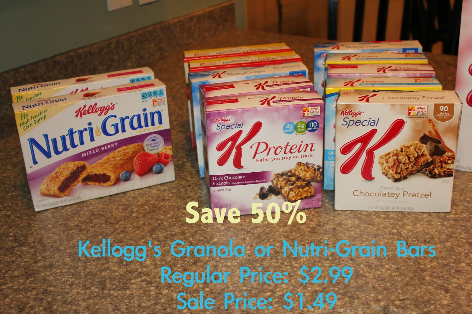Special K and Nutri Grain bars on sale for only .99 a box!!