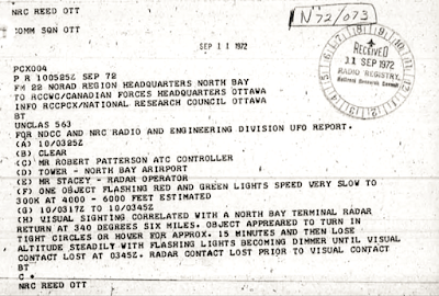 Telex Re UFO - Radar Sighting Canada 9-11-1972