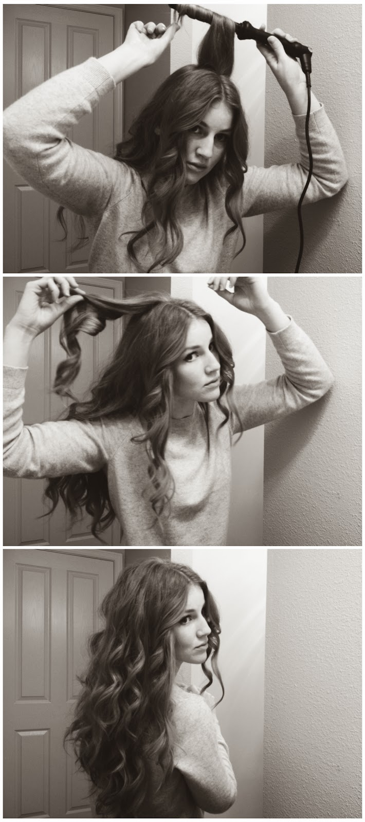 teased section of hair, wrapping the hair down around the curling wand