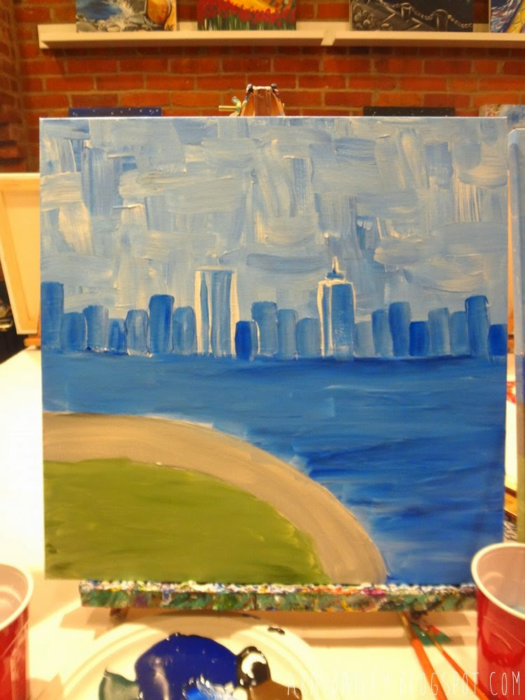 Boston skyline painted
