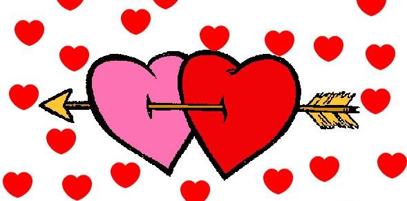 Dos corazones unidos y atravesados por la misma flecha