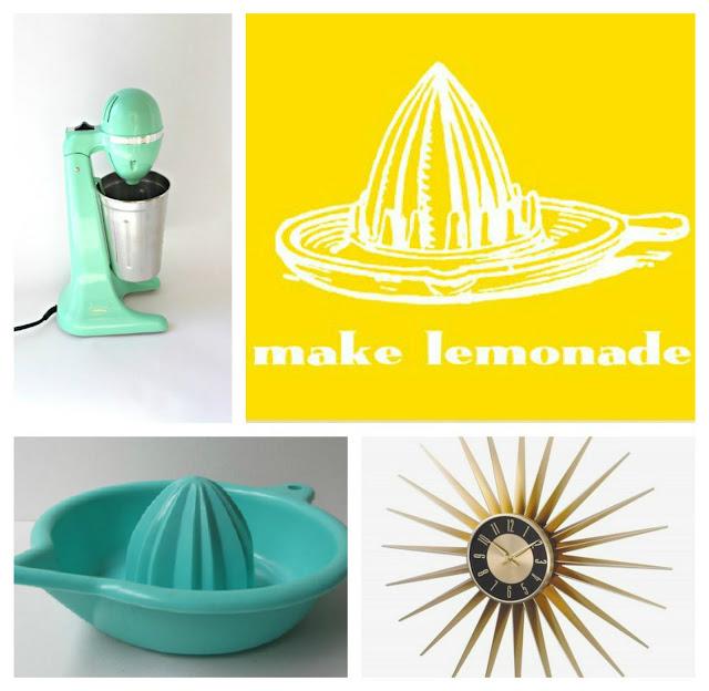 mint milkshake maker lemonade print lustroware reamer aqua starburst clock Just Peachy, Darling