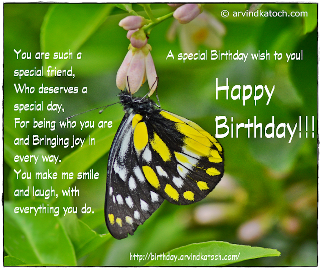 Haopy Birthday, Special Friend, Butterfly, Smile, Laugh,