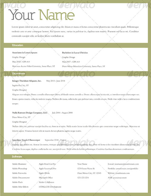 20 Awesome Resume Cv Templates | Mow Design | Graphic Design Blog