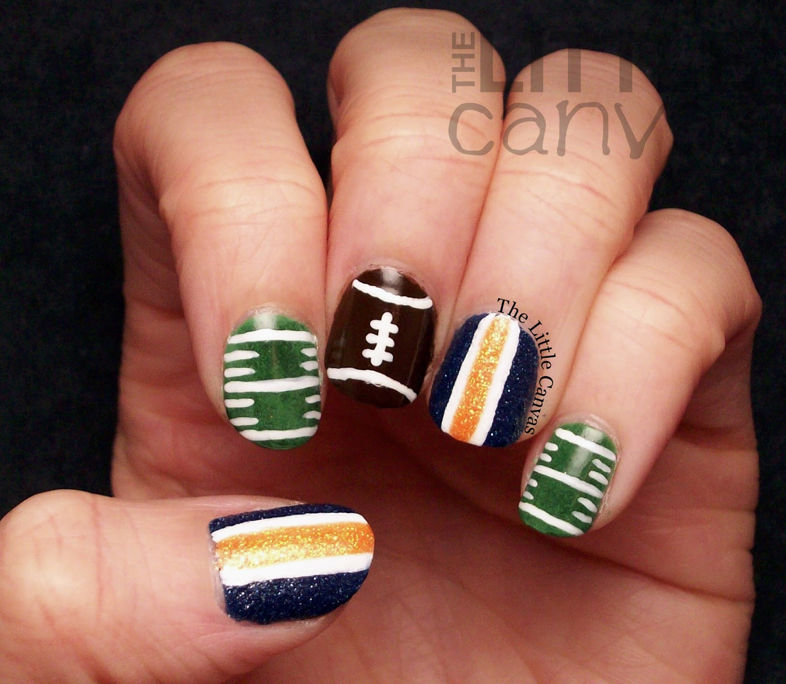 A zoya superbowl manicure go broncos the little canvas lets take a look prinsesfo Image collections