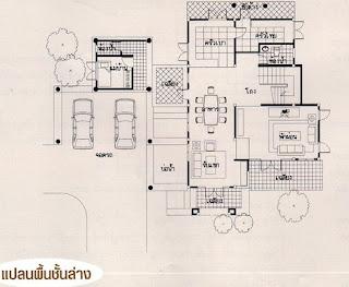 แปลนพื้นชั้นล่าง บ้านทรงไทย