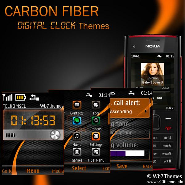 Carbon+fiber+digital+clock+themes+for+nokia+X2-00,6303i,Nokia,206 ...