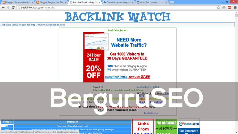Cara Cek Backlink Web Blog dengan BackLinkWatch
