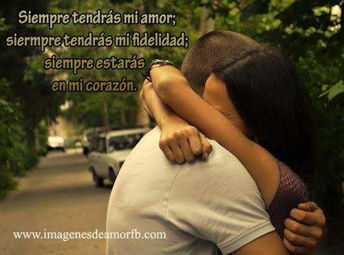 imagenen de pareja abrazada con frases de siempre te amare