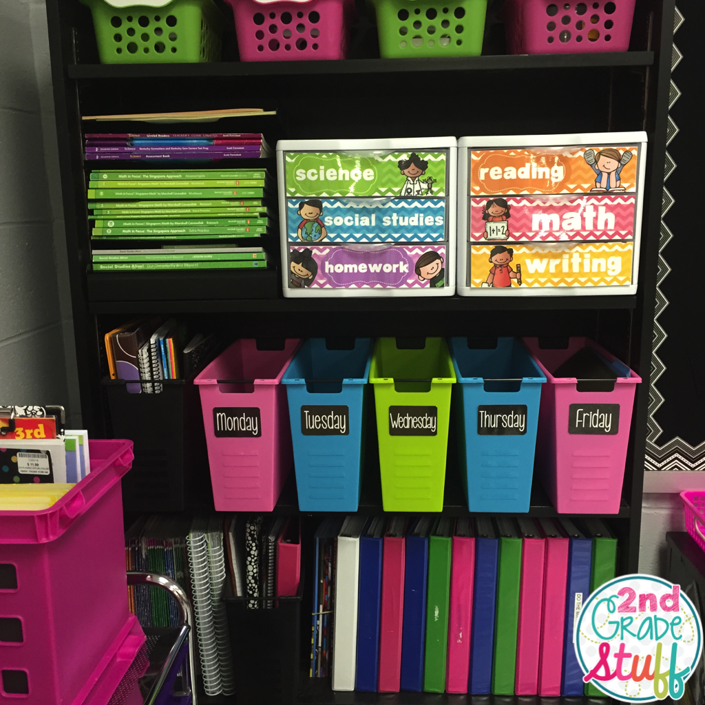 2nd grade stuff 2015 2016 classroom reveal - Classroom desk organization ideas ...