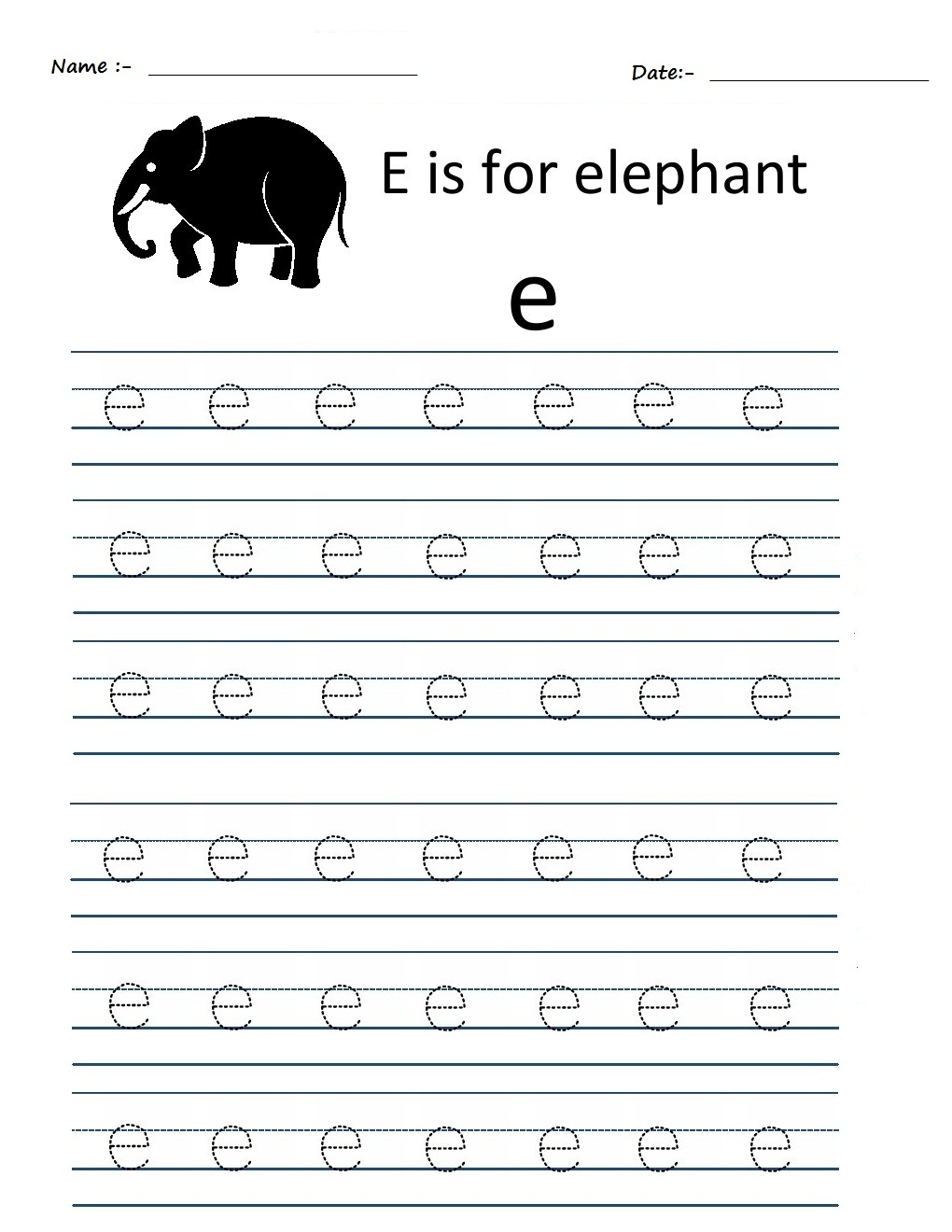 Kindergarten Worksheets: Alphabet Tracing Worksheets - e