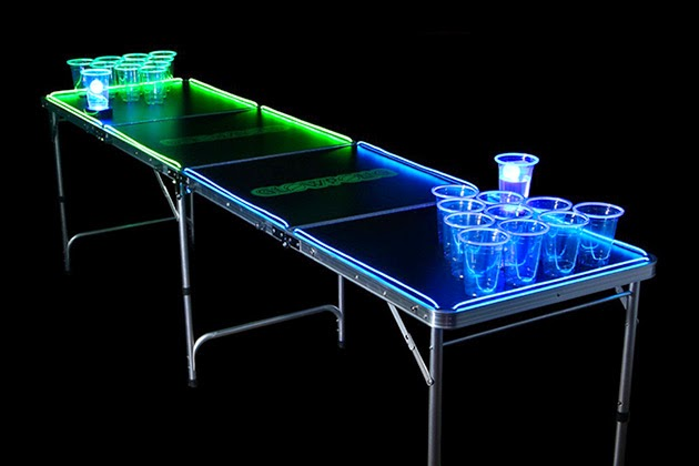 GlowPong Glowing Bear Pong Game Table