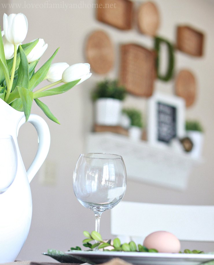 simple spring tablescape (green & white) - love of family & home