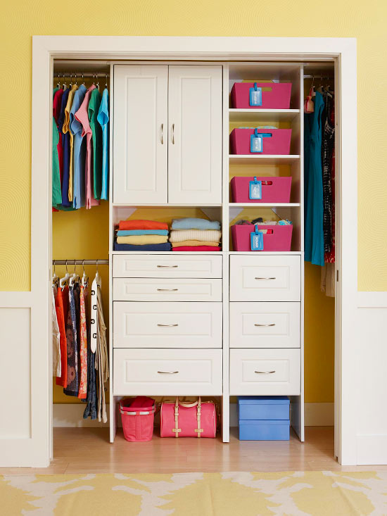 Closet Design Ideas. Closet Organization Ideas. After you've organized your clothing and measured, it's time to design your closet. For wire shelving, consider using a continuous hanger rod for easy sliding. For wood systems, first run a rod to one wall. Then place a tower or shelves about 24 inches from the adjacent wall. If you want a.