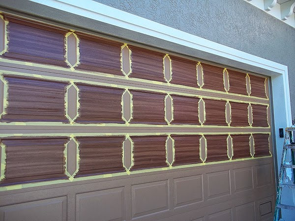 Painting an over sized garage door everything i create for Painting garage door to look like wood