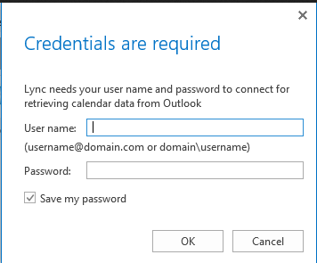 Lync needs your user name password to connect for retrieving