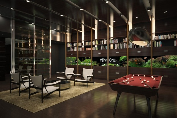 Interior of One 57 by Christian de Portzamparc, room with the pool table and a few chairs