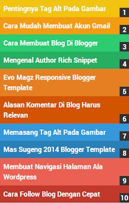 Cara Membuat Widget Popular Post Berwarna (Warna - Warni) Pada Blog