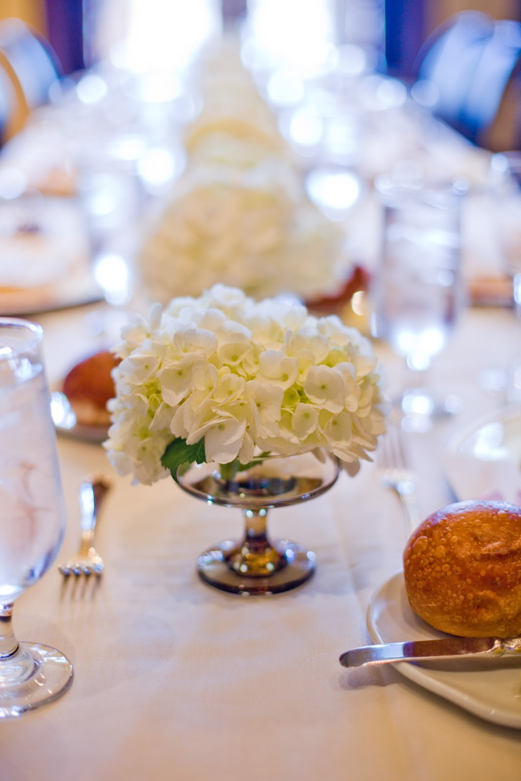 Webster house bridal luncheon for Long table centerpieces