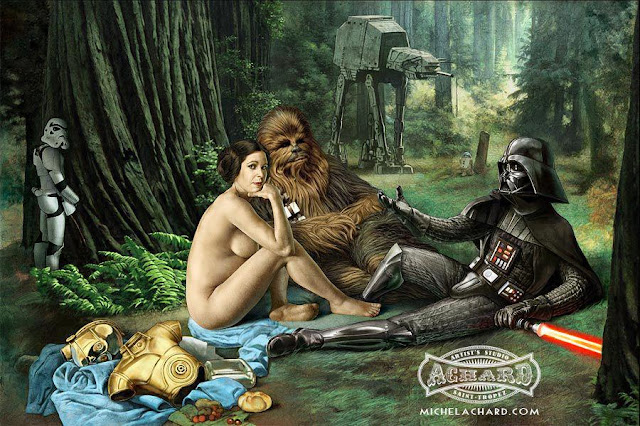 Darth Vader chilling, stormtropper pissing Princess Lea Naked and chubbacca being cool