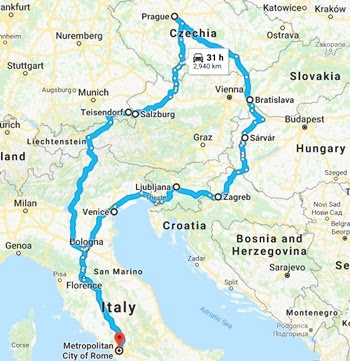 Self-drive Holiday EASTERN EUROPE 2017 (Click the map for stories from Day 1)