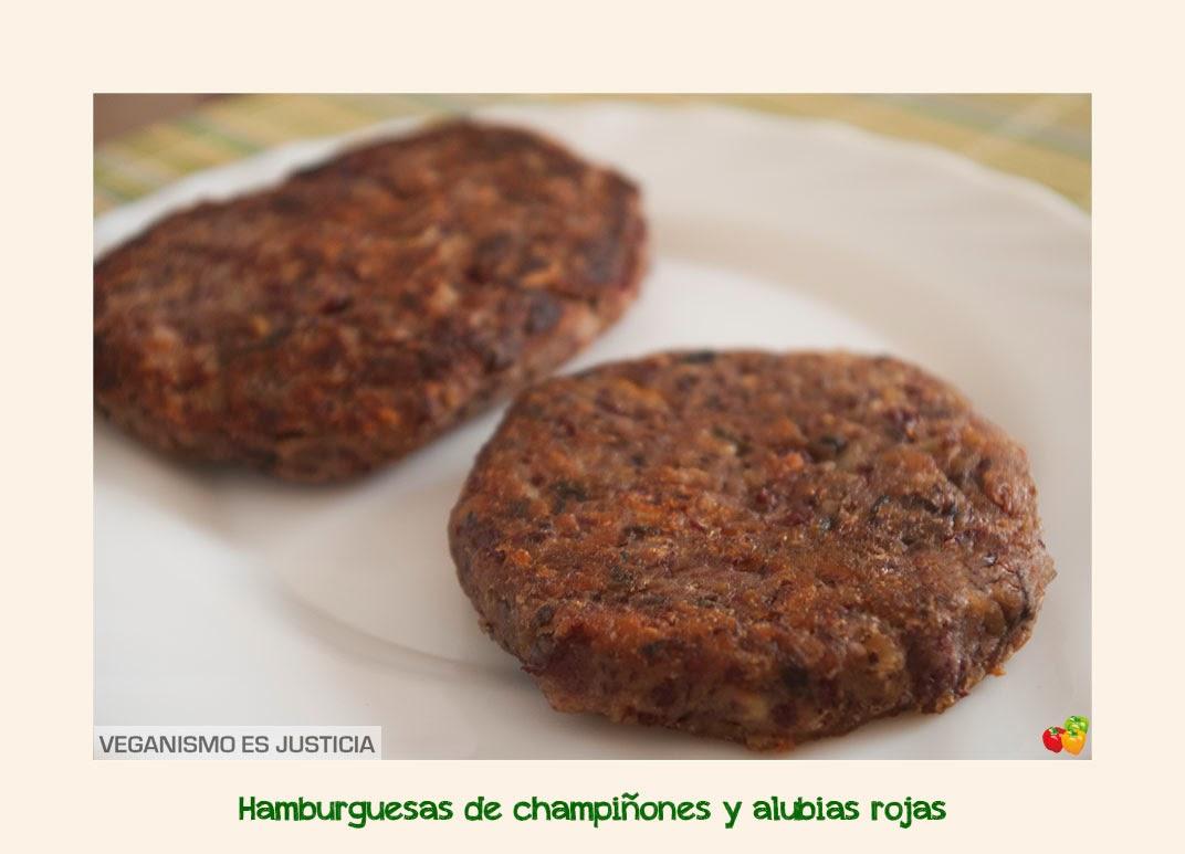 Veganismo es justicia hamburguesas de champi ones y alubias rojas - Como cocinar alubias rojas ...