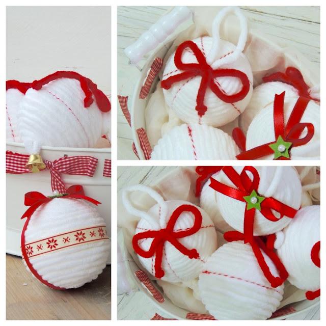 palline natalizie di polistirolo con la lana