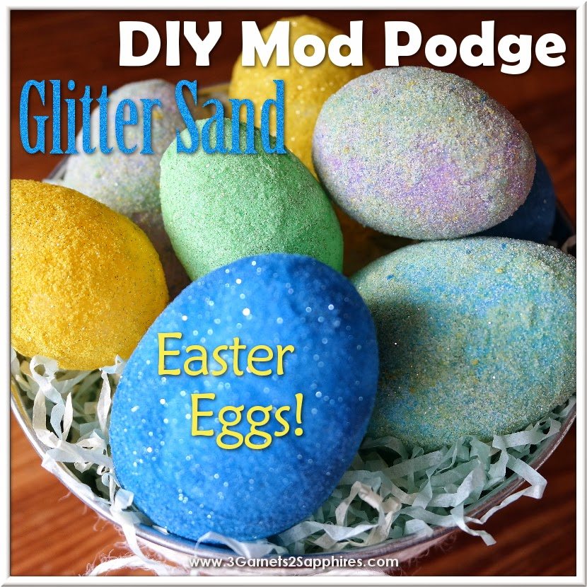 DIY Mod Podge Glitter Sand Easter Eggs Craft #ModPodge #EasterCrafts