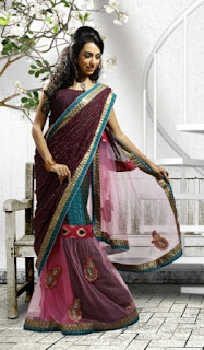 Pink-Blue-Designer-Party-Wear-Saree