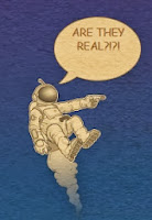 caricatura de astronauta en el espacio